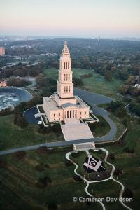 Aerial photograph of the George Washington Masonic Memorial in Alexandria, Virginia.